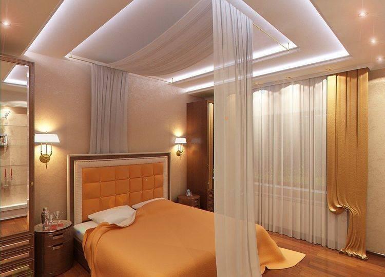 Потолок из гипсокартона в спальне: дизайн, фото