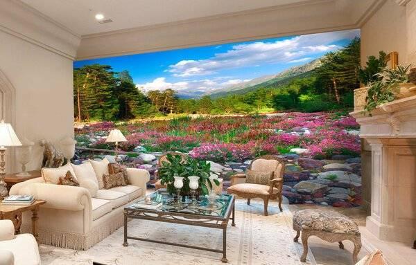 Фотообои в интерьере гостиной в современном стиле — фото идей
