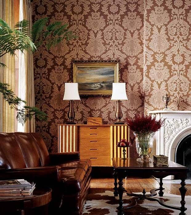 Применение обоев с узором дамаск в интерьере +75 фото идей | правильный дизайн квартиры и дома