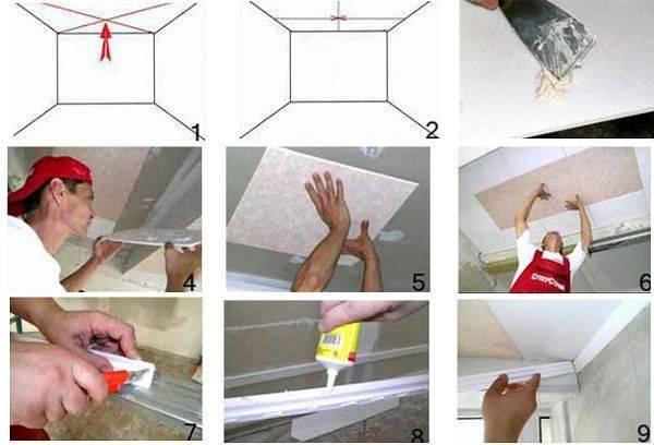 Как клеить потолочную плитку из пенопласта: правильно, каким клеем, своими руками, по диагонали, ромбом, углом, без швов, откуда начинать