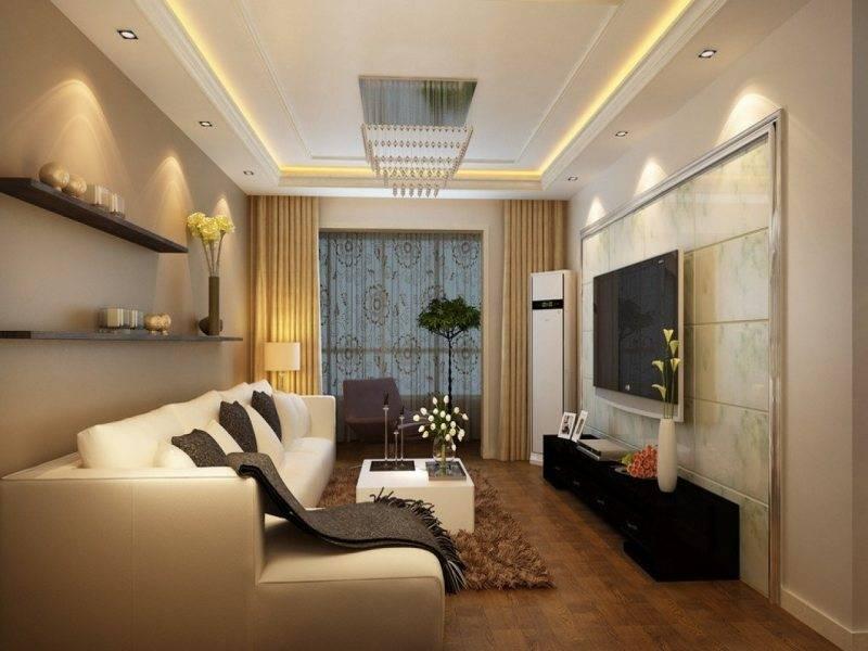 Потолки из гипсокартона в зале - варианты дизайна, фото