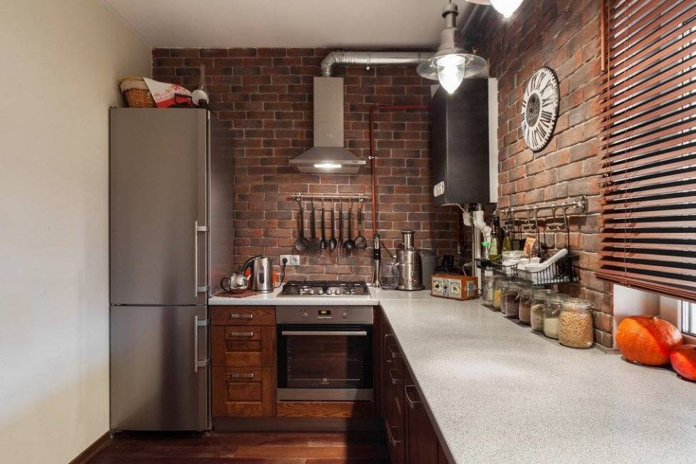 Кирпичная стена на кухне (53 фото): белый кирпич дизайн в интерьере