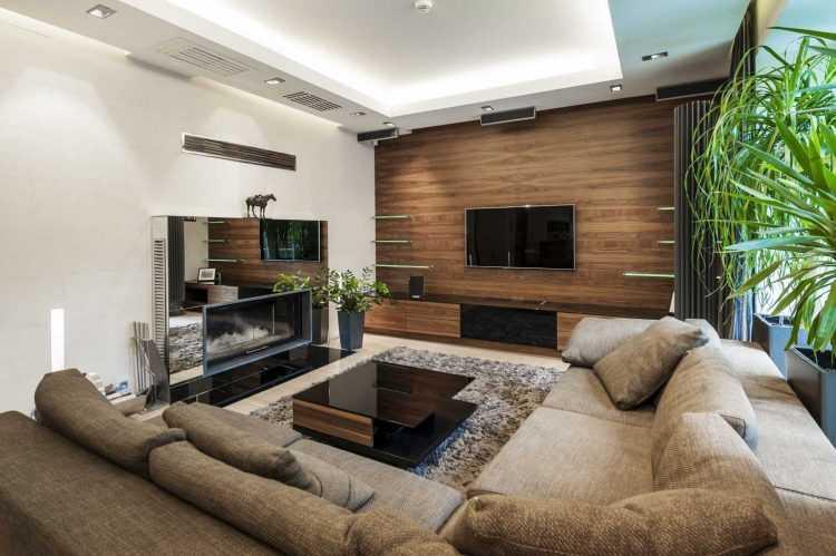 Интерьер гостиной в частном доме (117 фото): дизайн зала в  стиле «лофт» в загородном деревянном доме,  оформление комнат