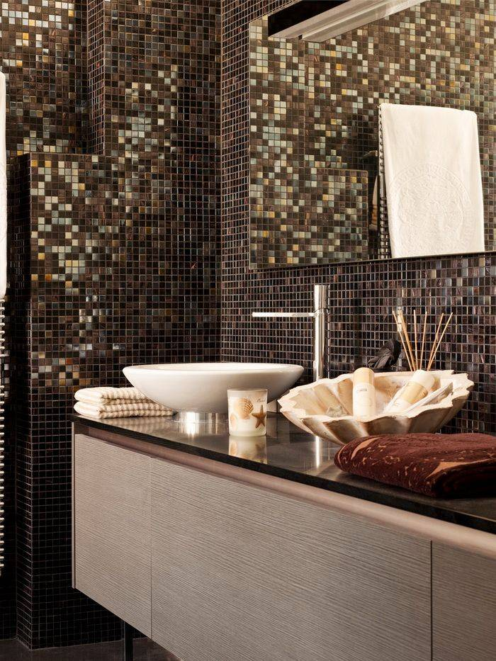 Мозаика в ванной комнате: дизайн, фото