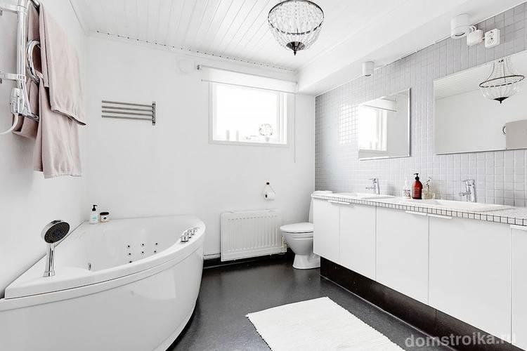 Белая плитка в ванной комнате: варианты оформления и фото