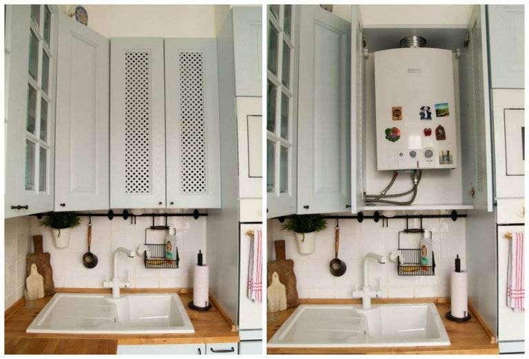 Дизайн кухни с газовой колонкой — 26 фото примеров