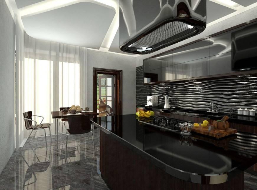 Кухня-гостиная в стиле «хай-тек» (30 фото): дизайн комнаты в стиле «хай-тек» в интерьере