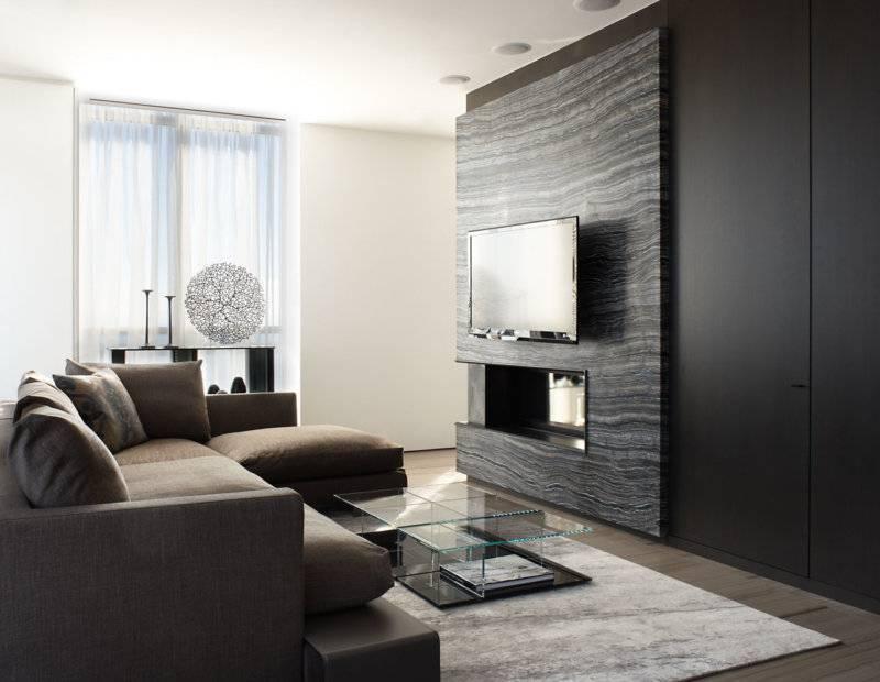 Оформление зоны телевизора в гостиной