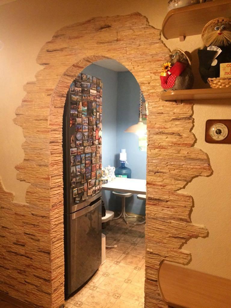 Отделка арки декоративным камнем +50 фото