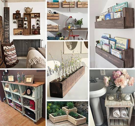 Деревянные ящики в интерьере детских комнат, гостиных, кухонь, спален, прихожих, ванных комнат, бань и саун, садов, террас, балконов. отделка и декор