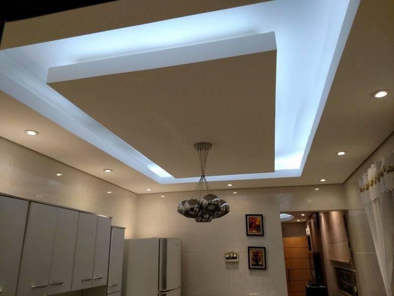 Оформление двухуровневых натяжных потолков с подсветкой