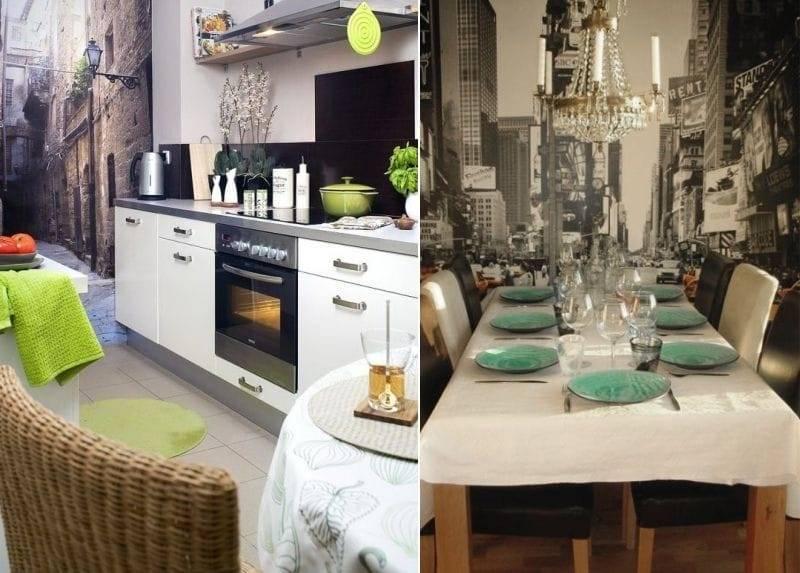 Фотообои в дизайне современной кухни - 95 фото примеров