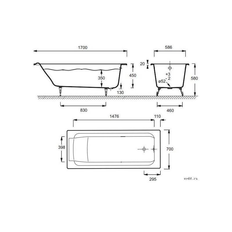 Каких размеров бывают угловые ванны?