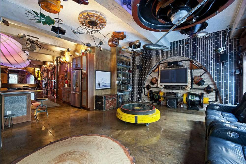 Стиль стимпанк в интерьере гостиной: комната, выполненная в лучших традициях фантастических фильмов и уличных пейзажей (35 фото)