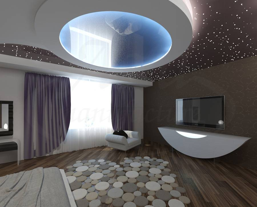 Потолки из гипсокартона в интерьере спальни