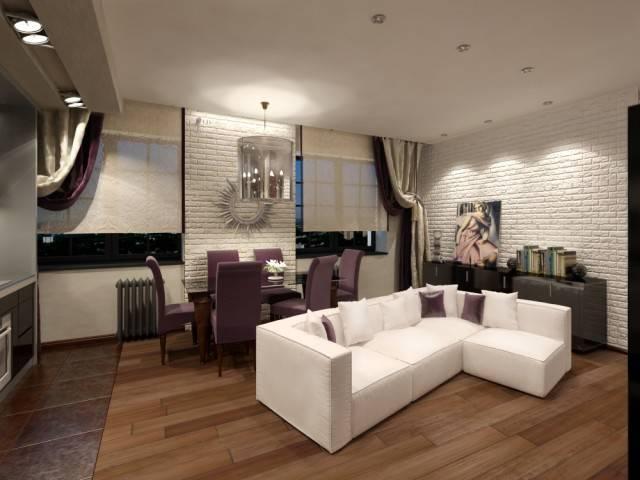 Дизайн кухни-гостиной 21-22 кв. м