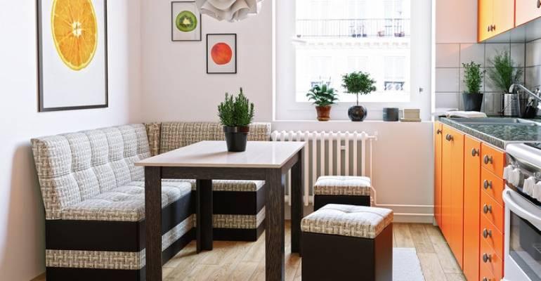 Дизайн кухни с диваном: идеи мягкой меблировки обеденной зоны