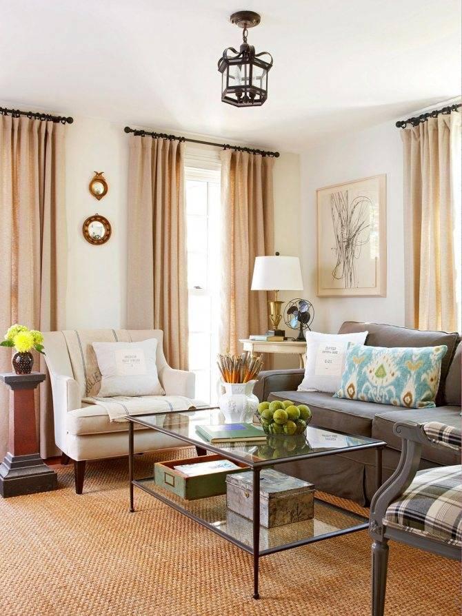 Оформление интерьера гостиной в бежевых оттенках