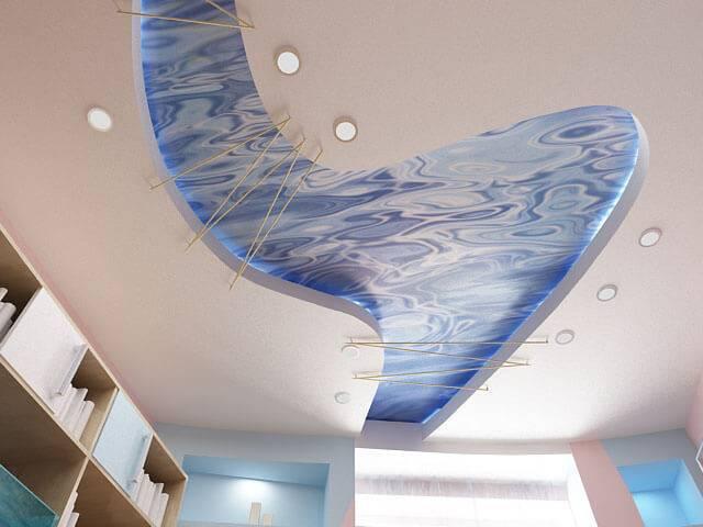 Двухуровневые натяжные потолки – особенности монтажа и проектирование точек крепления (80 фото)