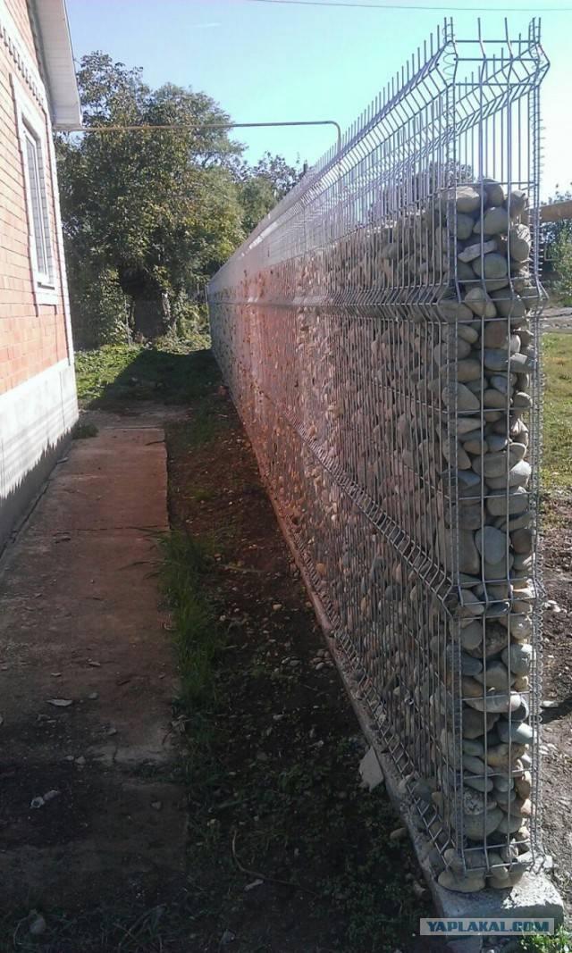 Забор из габионов: фото, видео, инструкция изготовления