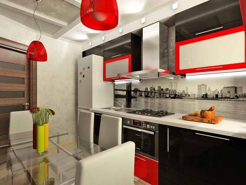 Чёрно-белая кухня: варианты дизайнов кухонного помещения с применением ярких акцентов