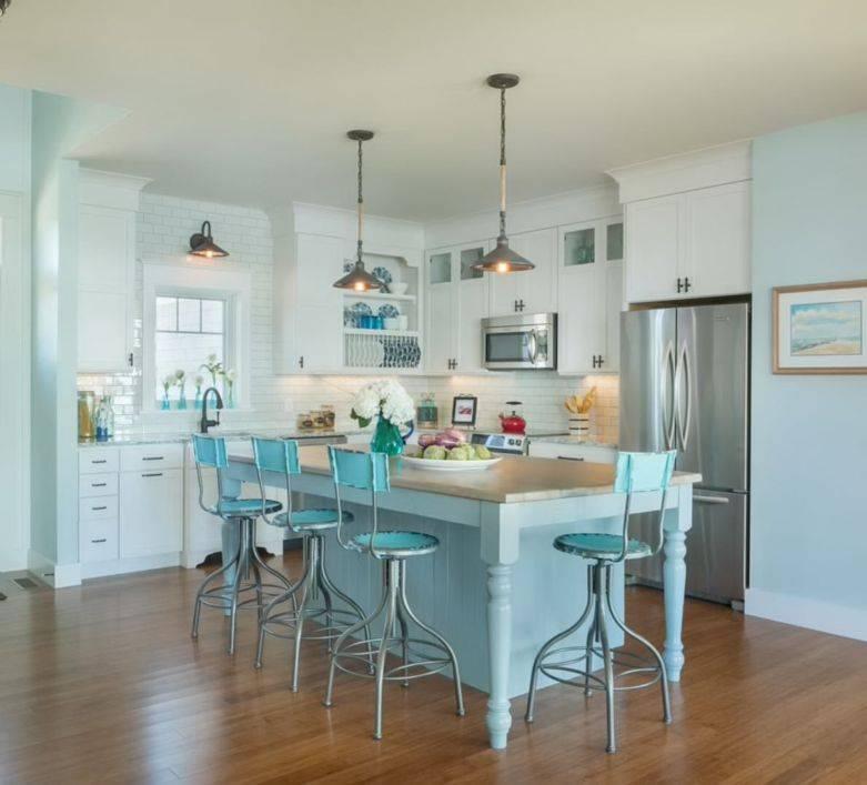 Голубая кухня - 100 фото и 5 подсказок по сочетаниям цветов