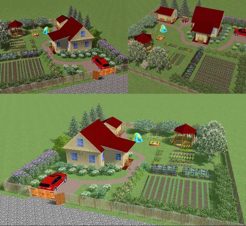 Фото планировки участка на 4 сотки — ландшафтный дизайн частного двора