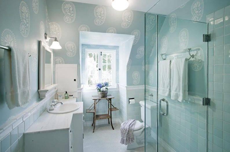 Бирюзовая плитка в интерьере ванной комнаты