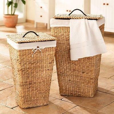 Корзина для белья в ванную (56 фото): встраиваемые узкие и угловые, плетеные ящики для грязного белья и контейнеры размером 15 см, 20 и 25 см