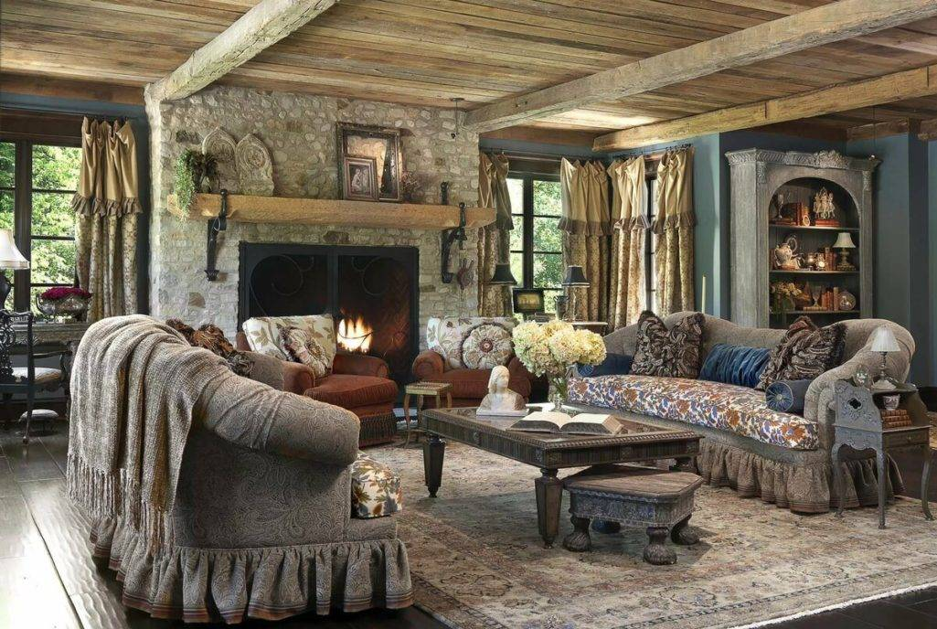 Гостиная в стиле прованс: 57 фото в интерьере, идеи для дома и примеры с камином