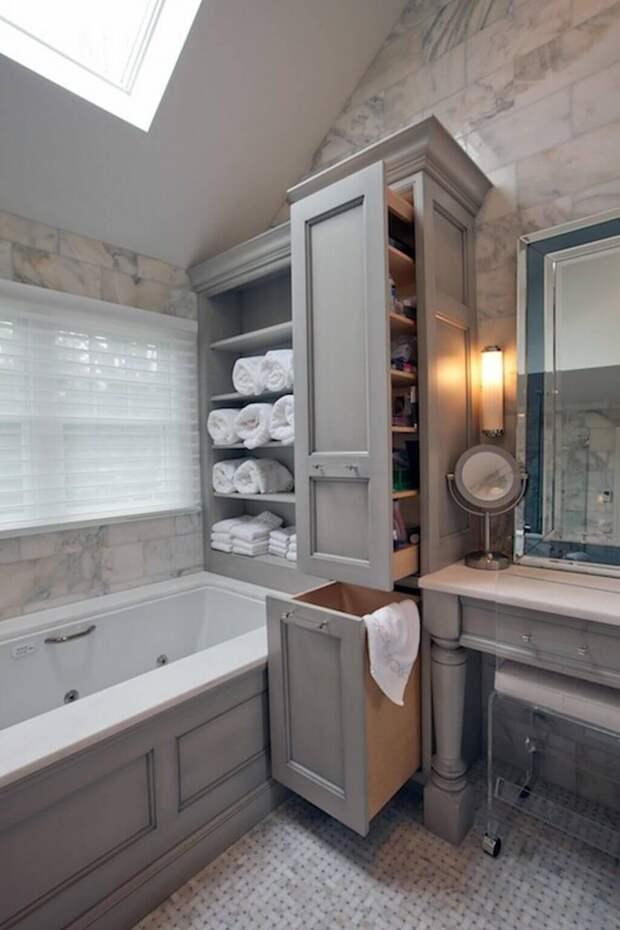 Шкаф-купе в ванную комнату (30 фото): дизайн напольного шкафа