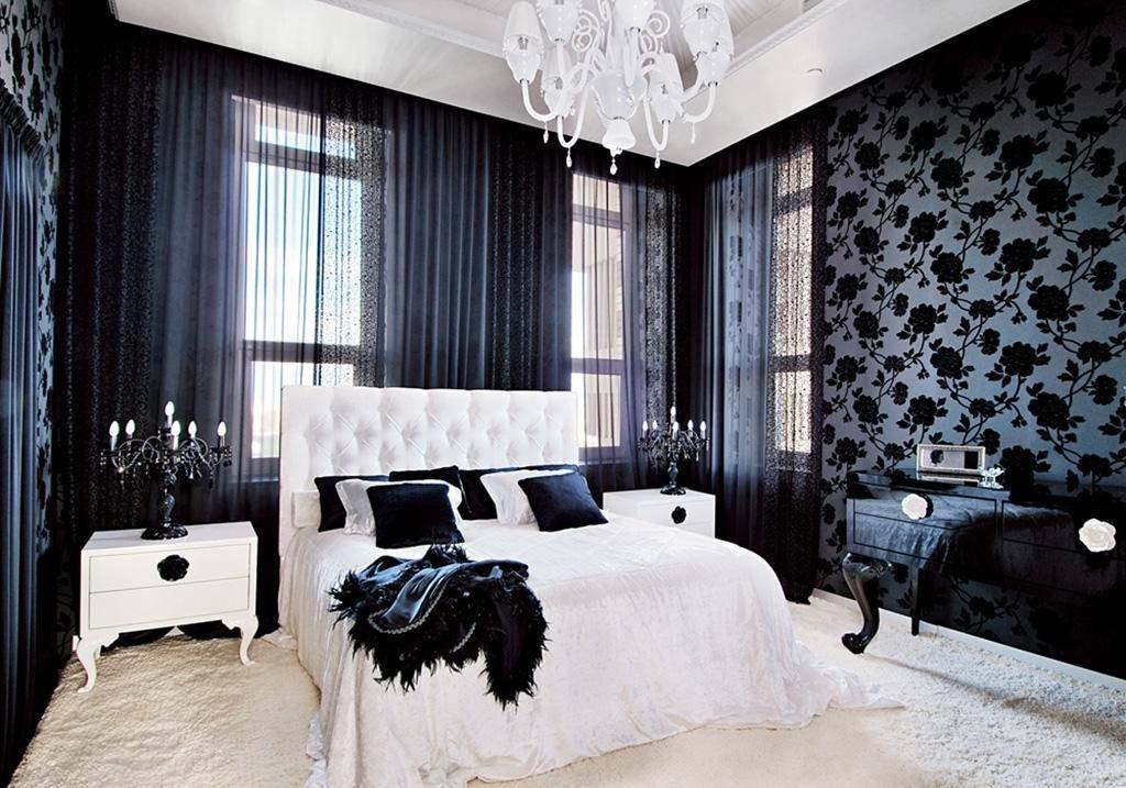 Черно-белая гостиная, дизайн интерьера - фото примеров