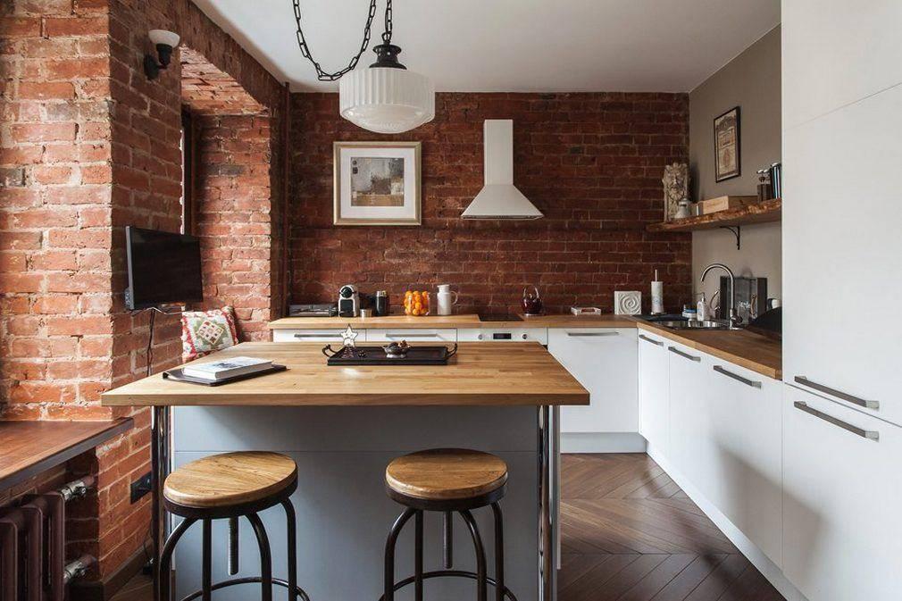 Кирпич на кухне (63 фото): кухня из кирпича в интерьере, дизайн кухни под кирпич и варианты отделки помещения белым и красным кирпичом