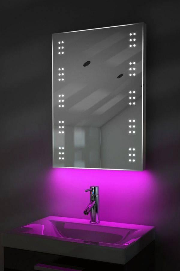 Зеркало в ванную с подсветкой (75 фото): модель со шкафом в ванную комнату, сенсорное включение света, крепление круглого зеркала своими руками