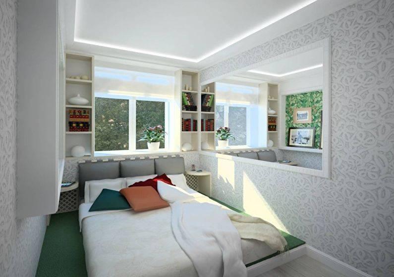 Узкая спальня: отделка, зонирование, красивые идеи оформления. 120 фото шикарных решений оформления узкой спальни!