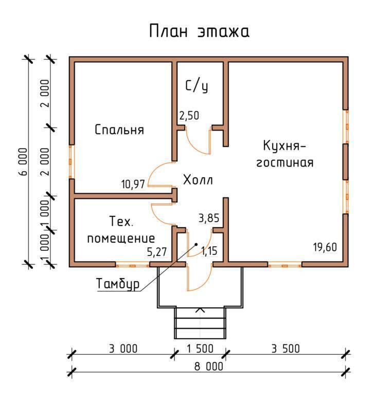 Проект дома 6 на 8 с 3d-визуализацией