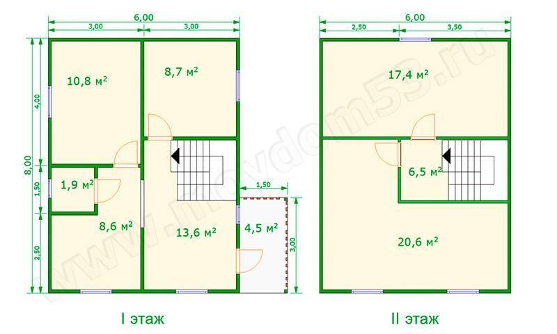 Проекты дома из бруса размером 6 на 8