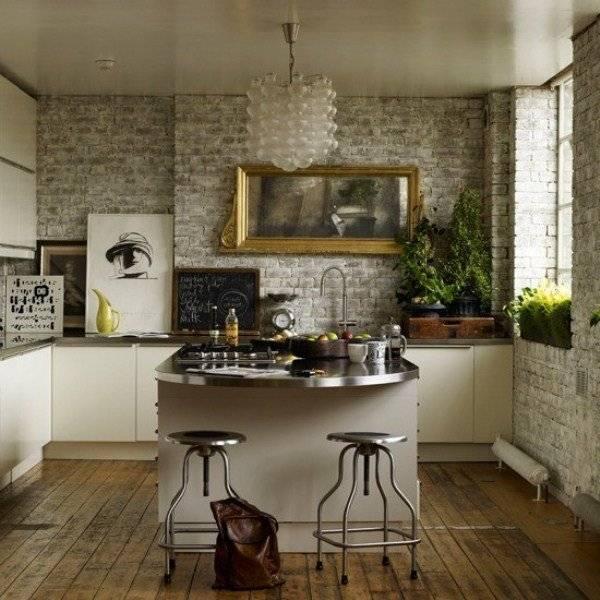 Кирпич на кухне - примеры стильного дизайна