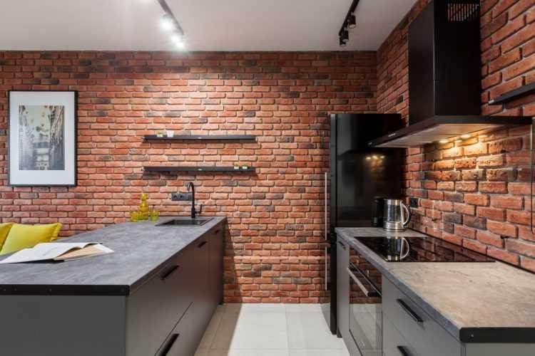 Декоративный кирпич на кухне: особенности и стильные идеи