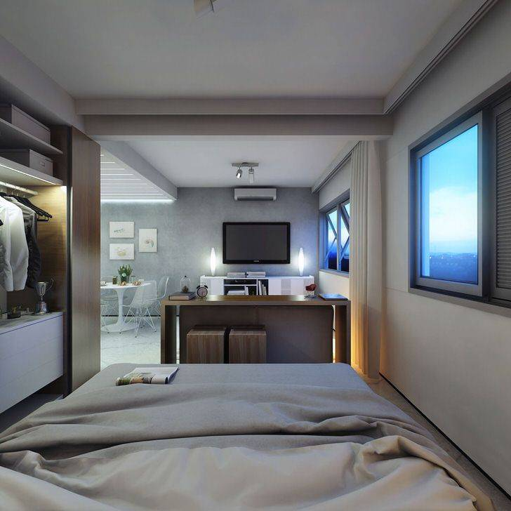 Дизайн гостиной-спальни 14, 15 кв. м (50 фото): оформление интерьера в комнате 3 на 5 м и 14 кв. метров