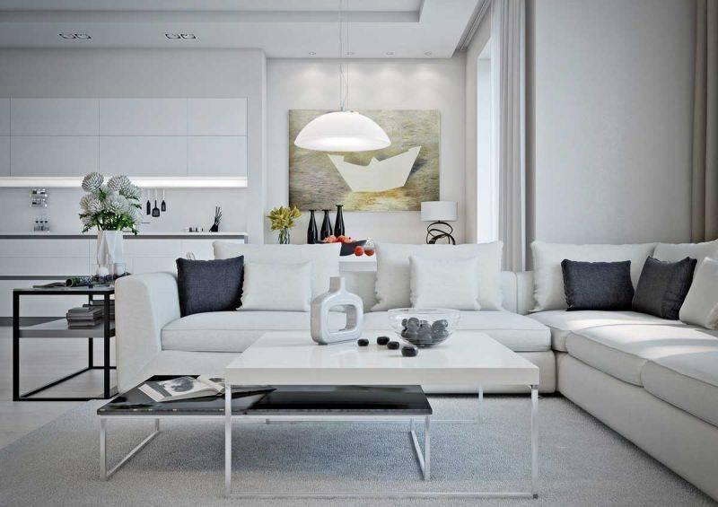 Белая мебель в интерьере гостиной