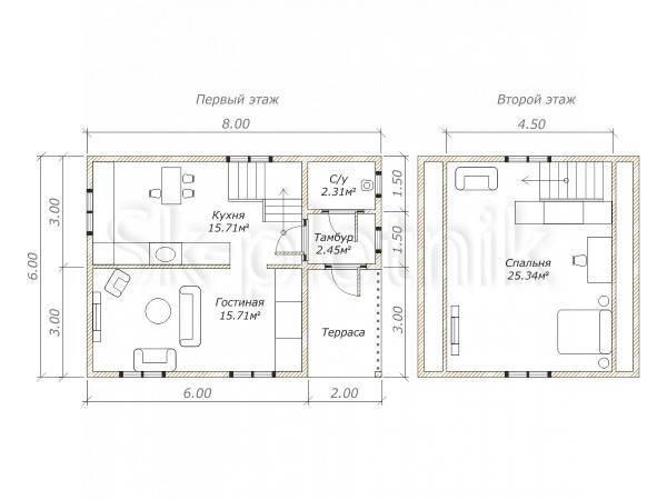 Дом 6 на 8: планировка и проекты каркасных построек, из бруса, кирпича, пеноблока, одноэтажные, с кательной либо печкой