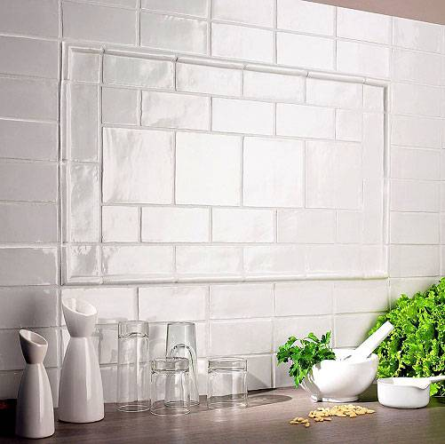 Фартук из плитки кабанчик в интерьере кухни (фото примеры)