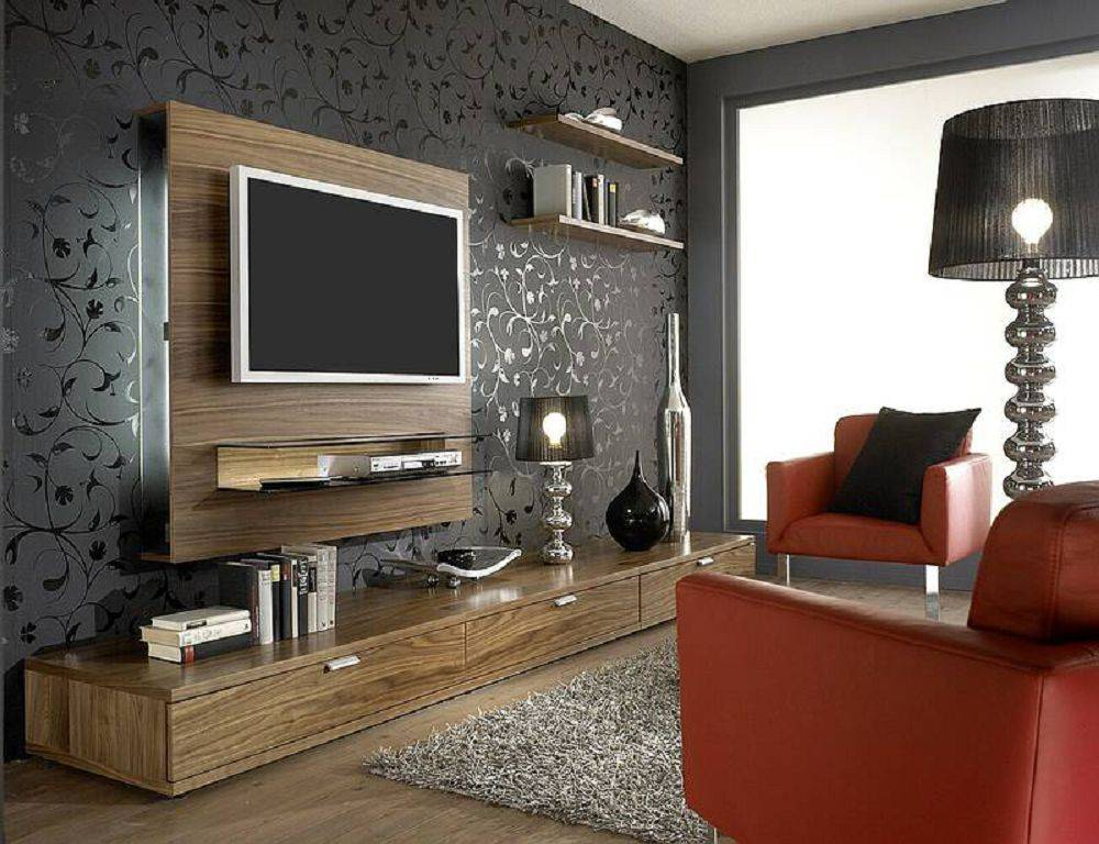 Оформление стены с телевизором в гостиной: 25 фото