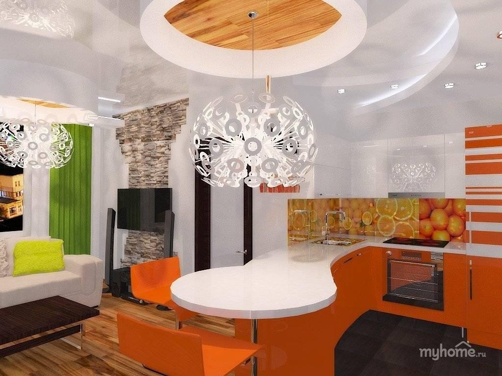 Дизайн интерьера кухни, совмещенной с гостиной, балконом или лоджией