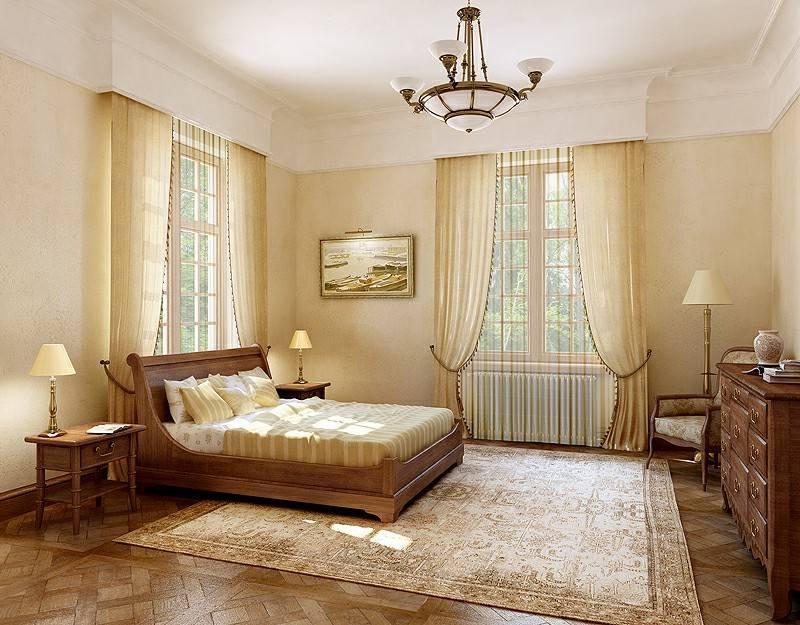 Дизайн штор для зала, спальни или кухни с двумя окнами, фото идеи