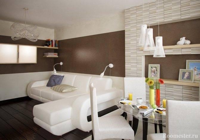 Дизайн интерьера кухни в кофейно-молочном цвете, сочетание ярких акцентов