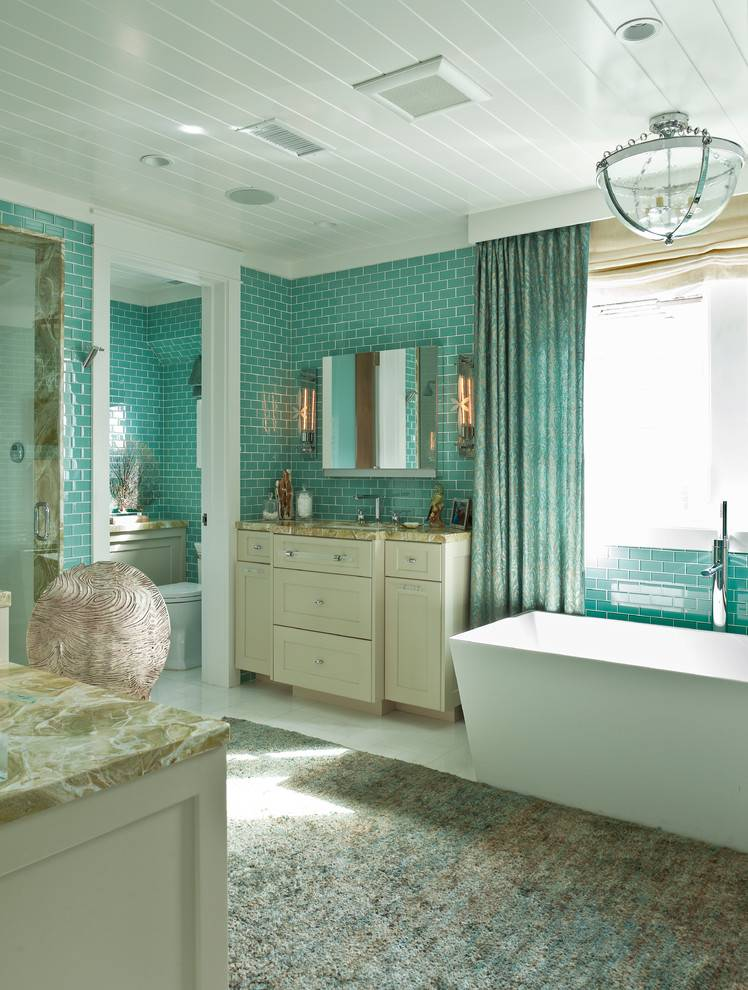 Бирюзовая плитка для ванной: особенности, разновидности, выбор, примеры
