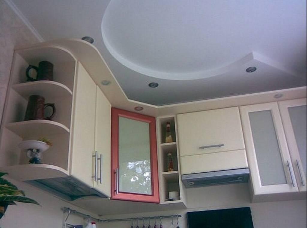 Двухуровневые потолки из гипсокартона для кухни (12 фото)