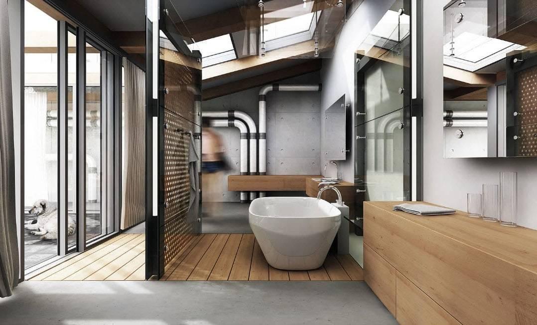 Как сделать красивую ванную комнату в стиле лофт при любых исходных данных?